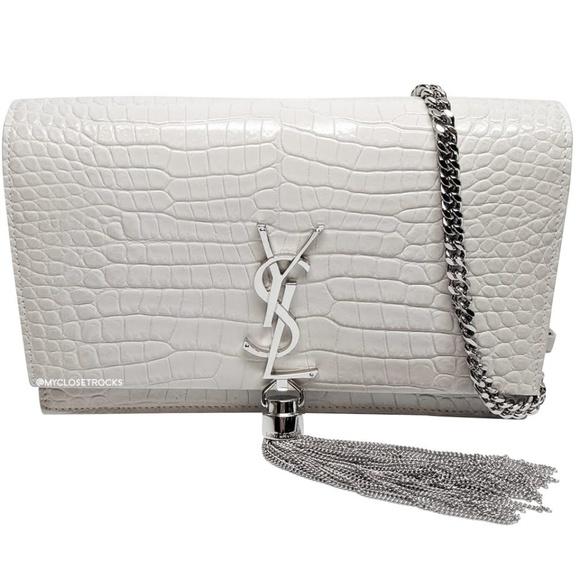 Saint Laurent Handbags - SOLD Saint Laurent White Kate Croc Chain Wallet